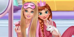 Anna ve barbie pijama partisi